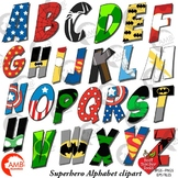 Superhero Alphabet Clipart, Uppercase Letters, {Best Teach