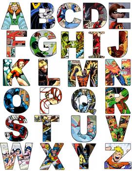 Superhero Alphabet Letters- Comics