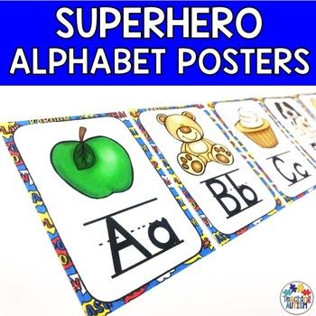 Superhero Alphabet Flashcards Phonics Display