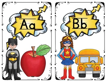 Alphabet and Number Posters Superhero Class Deocr