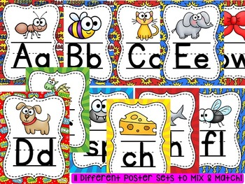 Superhero Classroom Theme Alphabet Posters and Phonics Posters