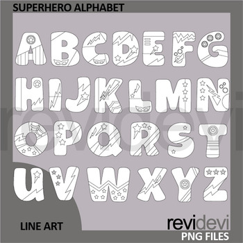Superhero Alphabet clip art black and white