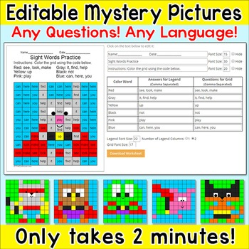 Superhero Animals Editable Mystery Pictures - Any Language! Any Questions!