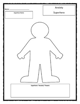 Superhero: Anxiety worksheet by Chuda's Counseling And Character Corner