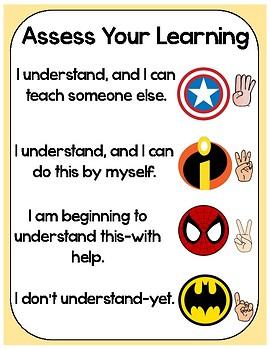 Superhero Assess Your Learning Poster