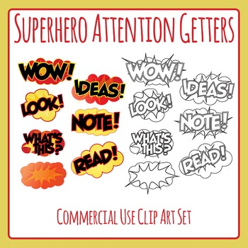 Superhero Attention Getters or Grabbers Clip Art for Comme
