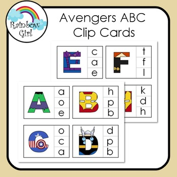 Superhero Avengers ABC Clip Cards