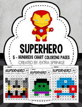 Superhero Avengers & Justice League Inspired Hundreds Chart Coloring Page Bundle