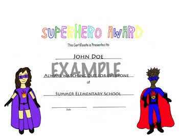 Superhero Award Certificate