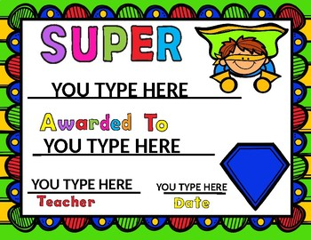 superhero awards editable you make your own certificates tpt