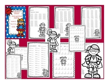 Superhero BUNDLE - Addition/Subtraction/Multiplication - PRINT AND SOLVE!