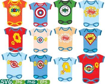 Superhero Baby Bodysuit Props Comic Speech Bubble clipart Party shower svg -192s