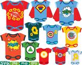 Superhero Baby Bodysuit Props Comic Speech Bubble clipart Party shower svg -193s