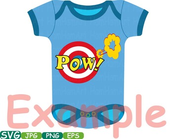 Superhero Baby Bodysuit Props Comic Speech Bubble clipart Party shower svg -193s