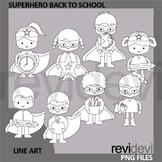 Superhero Back To School Clip Art Black and White