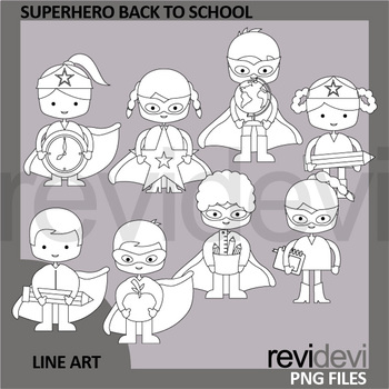 Superhero Back To School Clip Art Black and White