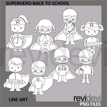 Superhero Back To School Kids Bundle Clipart and digital papers