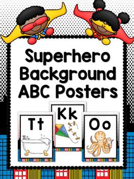 Superhero Background Alphabet Posters