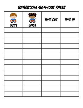 Superhero bathroom sign out sheet super hero by three for Sign in and out log template