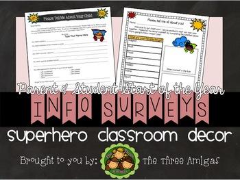 Superhero Beginning of the Year Parent & Student Surveys