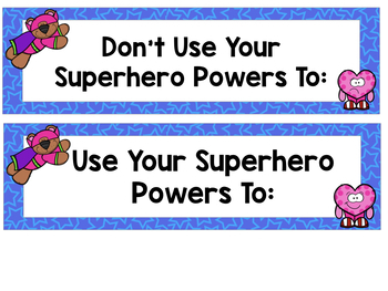 Superhero Behavior: A sorting activity