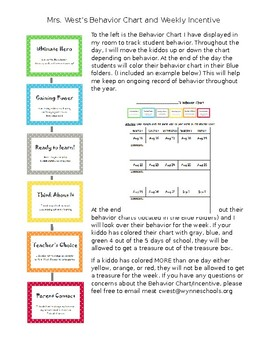 Superhero Behavior Chart Letter and Explaination