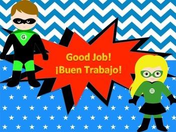 Superhero Behavior Chart in Spanish and English