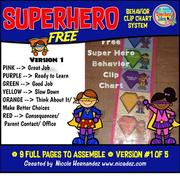 Behavior Clip Charts - Superhero Theme (Version 1) FREE