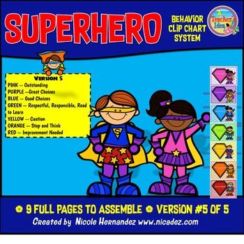 Behavior Clip Charts - Superhero Theme (Version 5)