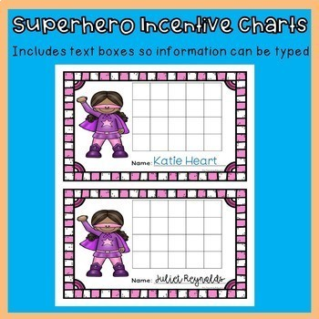 Incentive Charts with a Superhero Theme