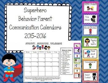 Superhero Behavior Parent Communication Calendar 2016-2017