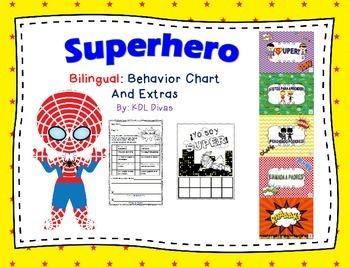 Superhero: Bilingual Behavior Chart and Extras-Feebie