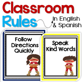 Superhero Bilingual Classroom Rules Posters in English & Spanish