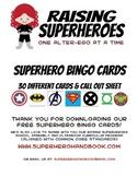 Superhero Bingo Cards