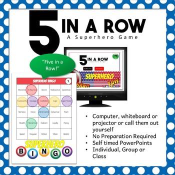 5 in a Row Superhero Bingo Game