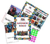 Superhero Bingo Game (Batman, Superman, Spiderman, Iron Ma