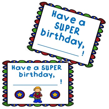 Superhero Birthday Certificate Cards