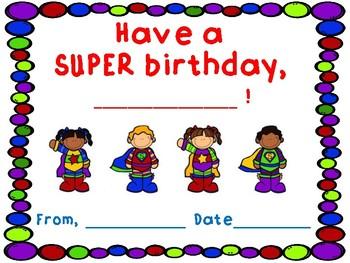 Superhero Birthday Certificates FREEBIE