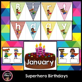 Superhero Birthday Chart