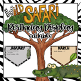 Safari Theme Birthday Display  - Editable