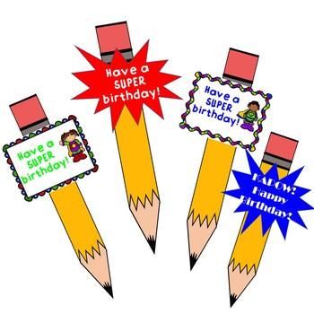 Superhero Birthday Pencil Toppers