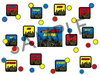 Superhero Classroom Birthdays (Super Hero Theme)