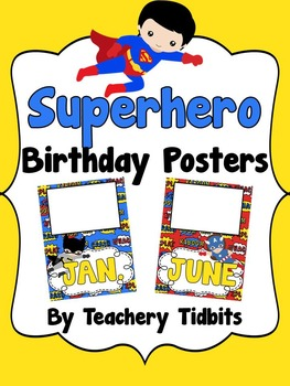 Superhero Birthday Posters