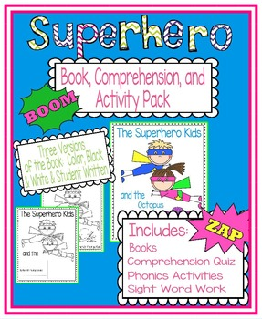 Superhero Book, Comprehension, and Activity Pack