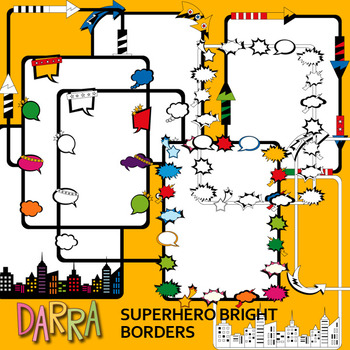 Superhero Borders / commercial use clip art / seller toolkit resource