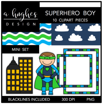 Superhero Boy Mini Clipart Bundle {A Hughes Design}
