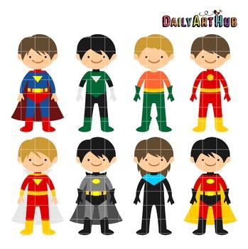 Superhero Boys Clip Art - Great for Art Class Projects!