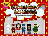 Superhero Bright Editable Schedule Cards