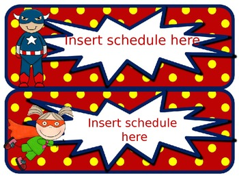Superhero Bright Editable Schedule Cards