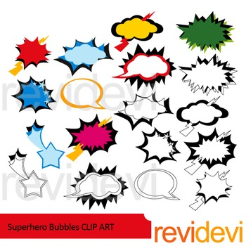 Superhero Bubbles clip art